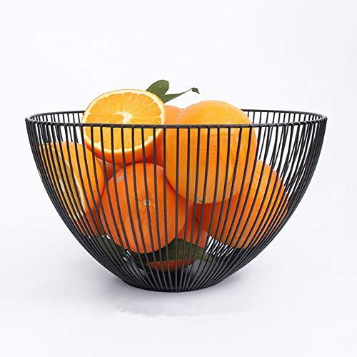 Teabelle Frutero de alambre de metal, estilo geométrico para almacenamiento y decoración, color negro (Redondo)