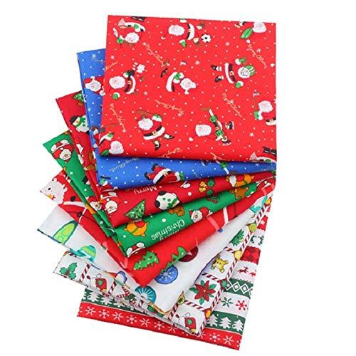 HFQT 8PCS Natale Serie Stile Patchwork Testa Gruppo Panno 100% Cotone Artigianato Tessuto 100% Cotone Stampato Panno Fatto A Mano FAI DA TE Tessuto