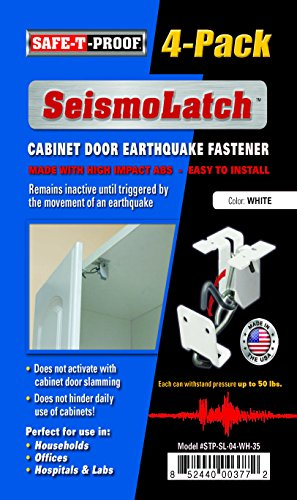 SeismoLatch Earthquake Activated Cabinet Latch (White Color-4 Pack)