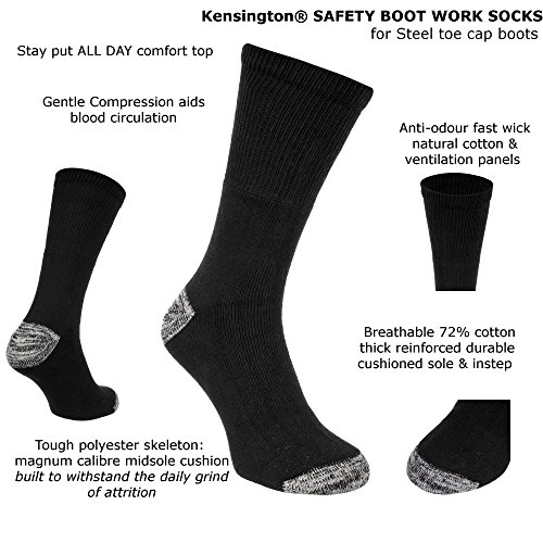 Kensington® Mens Cotton Anti Sweat Thick Heavy Duty Hard Wearing Safety Boot Work Socks Thermal Cushioned Sole Reinforced Heels and Toes for Steel Toe Cap Shoes (3 pairs (Black Navy Grey))