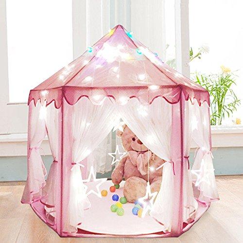 Yosoo Tienda de Campaña Infantil para Niños Castillo de Princesa, Casita de Juego Plegable para Interior y Exterior con Luces de Colores Estrellas Brillantes en la Oscuridad, Ninos Niña