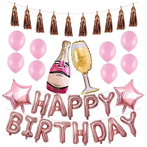 GH-YS Oro/Oro Rosa Feliz cumpleaños Película de Aluminio Juego de Globos Bar KTV Fiesta de cumpleaños Banquete Graduación,Suministros de decoración de Bodas (Color: D)