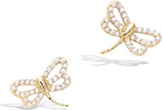 925 Sterling Silver/Gold Filled Cute Small Dragonfly Stud Earrings Cubic Zirconia CZ Trendy Jewelry Christmas Gifts for Women Teens Girls, Size 1/2-1/2