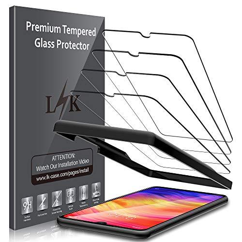 LK Compatible avec Xiaomi Redmi Note 7 Verre Trempé, 3 Pièces,Protection écran,Cadre d'installation Facile,Dureté 9H,Protection d'écran Verre Trempe Vitre,LK-X-38