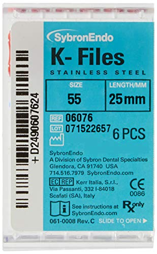 SybronEndo 6076 Endo Hand K-File, 0.02 mm Taper, 25 mm Length, Stainless Steel, 55 Tip Size, Red (Pack of 6)
