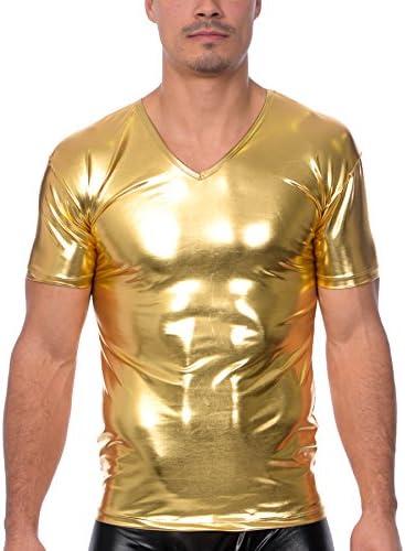 Gary Majdell Men s Liquid Shiny Metallic V Neck Short Sleeve T Shirt for Nightclub Liquid Gold product image