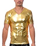 Gary Majdell Men's Liquid Shiny Metallic V-Neck Short Sleeve T-Shirt for Nightclub (Liquid Gold, Medium)