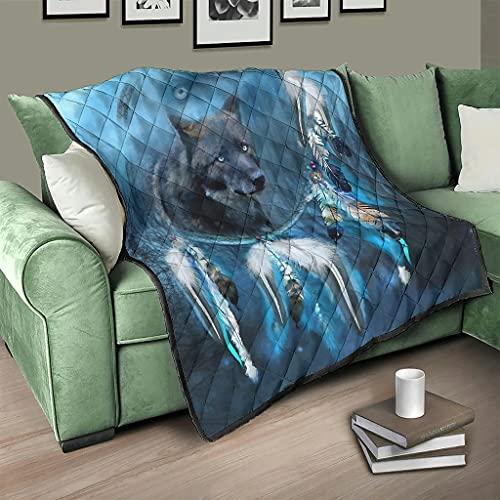 AXGM Colcha con diseño de atrapasueños y espíritu de medianoche, color blanco, 200 x 230 cm