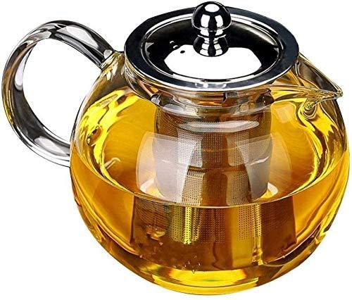 Bouilloire induction Théière ronde Tea en verre de verre de 1300 ml Capacité épaisse filtre en acier inoxydable isolant thermique pour la maison de bureau de bureau WHLONG