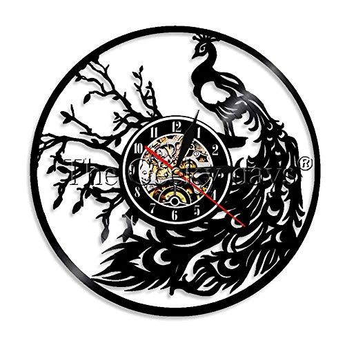 1 Pieza Vintage Pavo Real Reloj de Pared Pavo Real Arte de la Pared Reloj de Cocina Animal Amante de los Animales Regalo Hecho a Mano-Sin LED