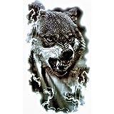 Just Fox – Tatuaje temporal, diseño de lobo, tatuaje temporal, pegatina de arte corporal