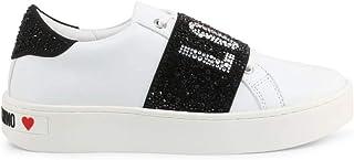 Moschino Scarpe Donna Love Sneaker Pelle Bianco/Strass Neri Fondo a Cassetta D21MO06