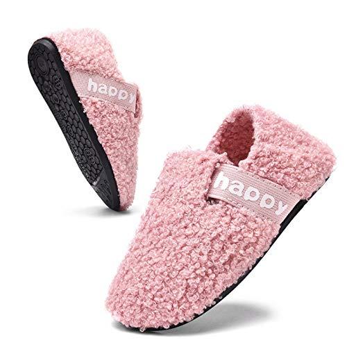 MrToNo Kinder Hausschuhe für Mädchen Jungen Winter Warme Filz Pantoffeln Flache Plüsch Unisex Slipper Cozy hüttenschuhe-FENSE-25
