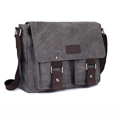Borsa Messenger in tela uomo Retro Vintage, lato borsa da viaggio borsa a tracolla tracolla Sport Campeggio Escursionismo Bag, Gray (grigio) - MB-1602