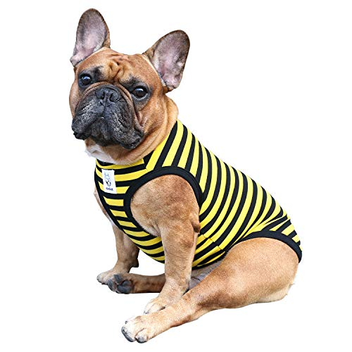 iChoue Dog Clothes Vest Tee Shirt for French Bulldog Pug Boston Terrier Frenchie- Stripes of Yellow and Black-L