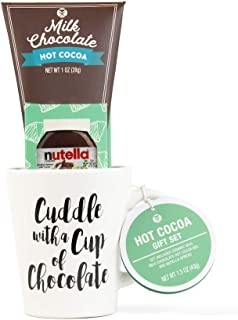 Nutella & Chocolate Hot Cocoa Gift Set | Contains Reusable Ceramic Mug (14 oz.), Milk Chocolate Cocoa, and Nutella