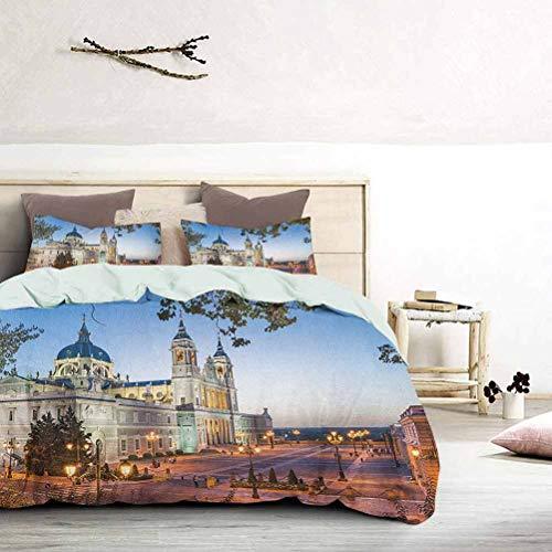 UNOSEKS LANZON Funda de edredón de la antigua catedral y el palacio real de Madrid, la ciudad mediterránea, Europa, ropa de cama de niño con impresión urbana suave y no arruga Multicolor, tamaño king