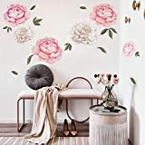 decalmile Giant Peony Flowers Wall Stickers <span class='highlight'>Romantic</span> Floral Wall Decals Girls Bedroom Living Room Wall Art Home Decor(1 Pack)