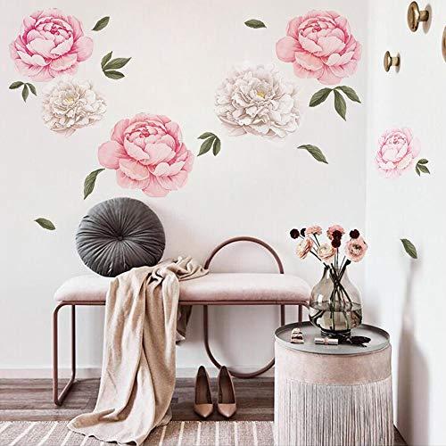 decalmile Wandtattoo Blumen Pfingstrose Wandsticker Wohnzimmer Schlafzimmer Romantisch Wanddeko (1 Pack)