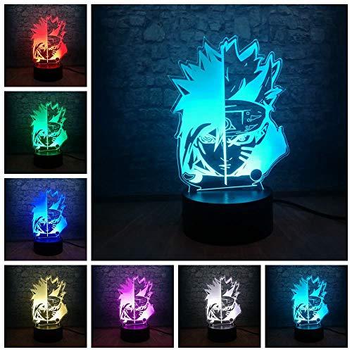 Lámpara de mesa 3D tridimensional colorida Sasuke LED luz de noche cambio de cara decoración juvenil USB   Regalo de halloween colorida luz de noche multicolor