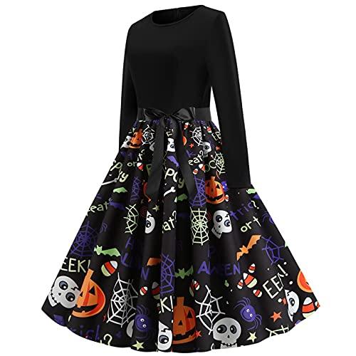 Vestido de Halloween para mujer, largo hasta la rodilla, estampado de manga larga, cintura alta, maxivestido elegante para boda, vintage, vestido de Navidad, con lazo, vestido largo, negro1, S