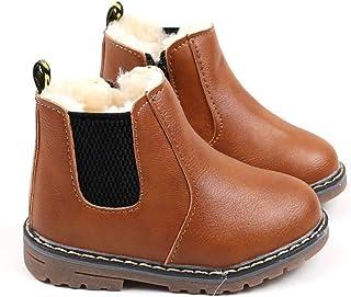 Meckior Kids Girl's Boy's Waterproof Side Zipper Short Boots Winter Snow Booties Children's Martin Shoes (Toddler/Little Kid)