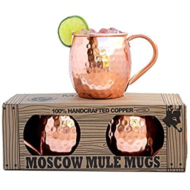 Morken Barware Moscow Mule Mugs - Set of 2 - Premium 1/2 Pound Mugs - 100% Solid Copper - Hammered Finish - 16oz