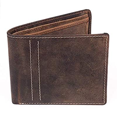 Mens Leather Wallet with RFID Blocking - Keeps Cash and Cards Safe, Organized and Easy to Access - Slim, Minimal Wallets for Men - Made from Genuine Buffalo Leather - Comes in a Stylish Gift Box