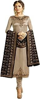 THE3536 Women Georgette Long Anarkali Salwar Suit/Gown with Dupatta Silver
