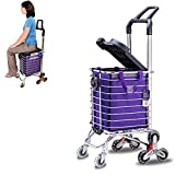 CRZJ Shopping Trolley, Foldable Hand Truck, Portable Multifunction Trolley with Lid To Sit for The Elderly, Built-In Cup Holder