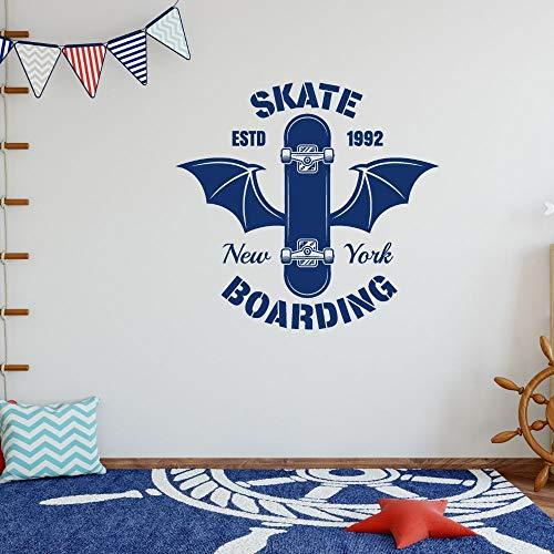 ASFGA Skateboard Wandaufkleber Devil Wings Skateboard Aufkleber Wandkunst Dekoration abnehmbare Club Fitness Sport Hobby Junge Indoor 57x51cm