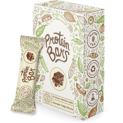 Vegan protein barritas - DOBLE CHOCOLATE - 15 Barras proteínas veganas sin azúcares añadidos, alto en proteínas, bajo en carbohidratos
