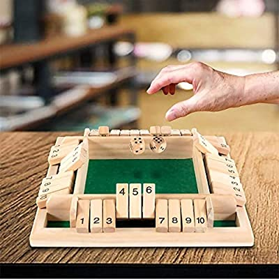 XXIA Shut The Box Games 2 to 4 Players, Classic Board Game for Kids & Adults, Educational Math Learning Toy, Table Dice Game for The Classroom, Home, party or Pub - New Zealand Pine - 9 In with 2 Dice