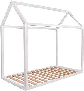KAGU Letto Aster, 160 cm x 80 cm x 148 cm, Peso Circa 31 kg, a Forma di casa, Letto Montessori, Idea per Regalo, assemblaggio Facile, Senza Materasso, Prodotto nell'UE (White)
