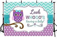 新しいフクロウの女の子のベビーシャワーの写真スタジオの背景バナー紫の水玉ターコイズティールの波は、写真撮影のための赤ちゃんの背景の小道具を持っている人を探しています250x180cm