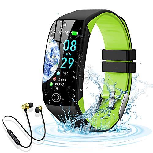 Smartwatch, Reloj Inteligente Impermeable IP68 para Hombre Mujer niños,Pulsera de Actividad Inteligente con 14 Modos de Deporte,con Pulsómetro,Blood Pressure,Sueño,Podómetro,para Android y iOS (Verde)