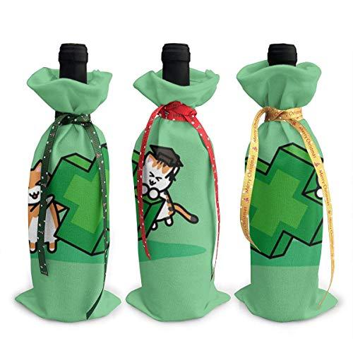 Farmacia gato estudiante 3 piezas botella de vino cubierta decoración bolsas para Navidad, boda, vacaciones