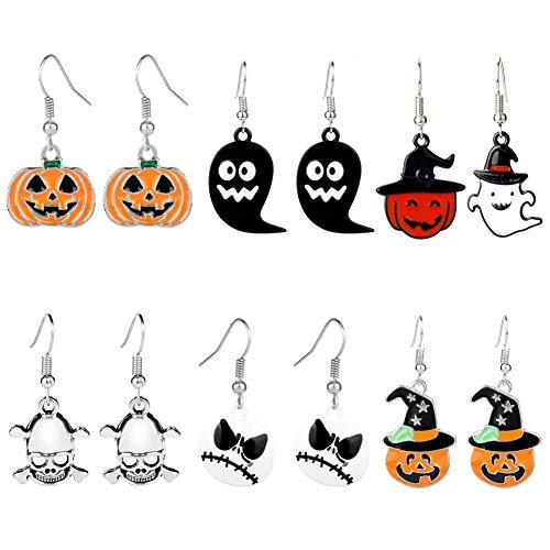 INTVN Pendientes de Halloween Calabaza 6 Pendientes Colgantes de Halloween Calabaza Calavera Fantasma Nios Noche de Vacaciones Disfraz Fiesta de Halloween