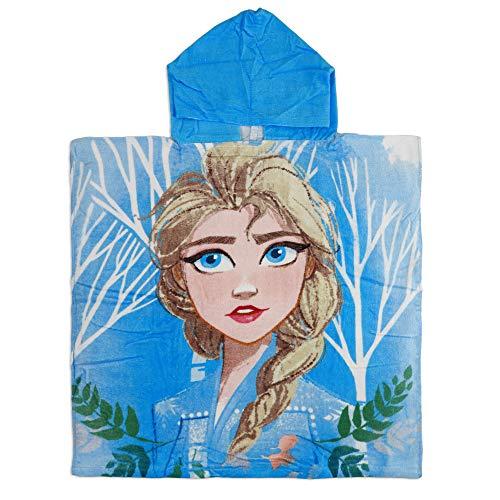 Disney Frozen 2 - Poncho Accappatoio Mare Piscina con Cappuccio - Cotone - Elsa e Anna - Bambina - novità Prodotto Originale (Azzurro)