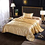 A Nice Night Satin Silky Soft Quilt Sexy Luxury Super Soft Microfiber Bedding Comforter Set, Light Weighted (Gold, Twin(68-by-88-inches))