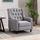 Artechworks Tufted Fabric Pushback Manual Recliner Chair for Living Room - Single Sofa Home Theater Seating- Comfortable Bedroom & Living Room Chair Reclining Sofa, Grey