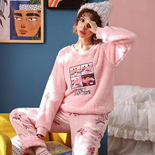 Bata de SatéN Pijama- Pijama De Terciopelo Coralino Engrosamiento Invernal para Mujer Más Traje De Terciopelo para El Hogar para Mujeres Otoño E Invierno, L, Pantera Rosa