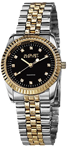 August Steiner Classic Women's Watch - 12 Genuine Diamond Hour Markers -...