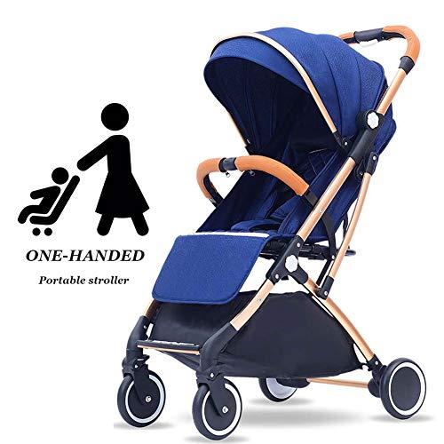ZHAONI kinderwagen lichtgewicht vouwen, paraplu wandelwagen lichtgewicht, hoog landschap opvouwbare aluminium ligstoel met verstelbare rugleuning (blauw)