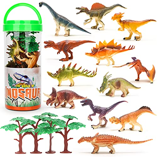 Mini Dinosaurier Figuren Set, 16 Stücke Realistische Kleine Dinosaurier Figur Dino Torten Deko Kinder Spielzeug ab 3 Jahre