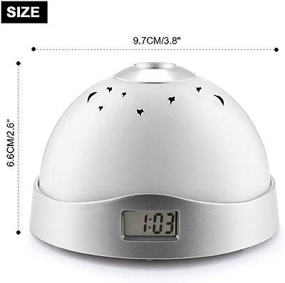 FOOSKOO Clock Despertador Digital Proyector 7 Colores Reloj Digital Estrellado 3-LED Reloj Despertador de