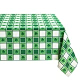 Hiasan Waterproof Checkered Tablecloth for St Patrick's Day, 52 x 70 Inch - Fabric Rectangle Spring Table Cloth for Dining and Outdoor Picnic, Green and White Gingham