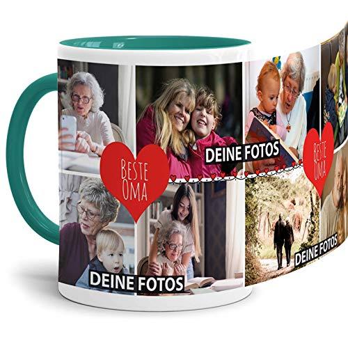 Tassendruck Fototasse mit Spruch - Beste Oma - zum SELBSTGESTALTEN mit Foto-Collage für 8 WUNSCHFOTOS - Bestes Fotogeschenk für Oma - Innen & Henkel Türkis