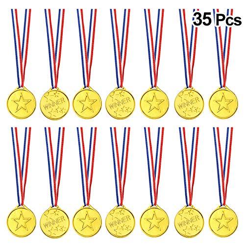 FEPITO 35 Pcs Kids Gold Winner Medallas Medallas de plástico para la Fiesta Infantil, Kids Sports Awards