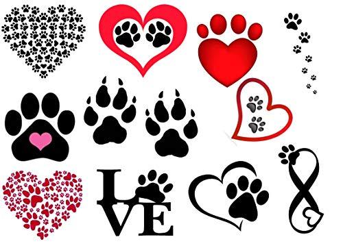 cagna cane dog Collezione di tatuaggi temporanei Temporary Tattoos collection (Tatuaggio di zampa stampe c2 Paw Prints tattoo)